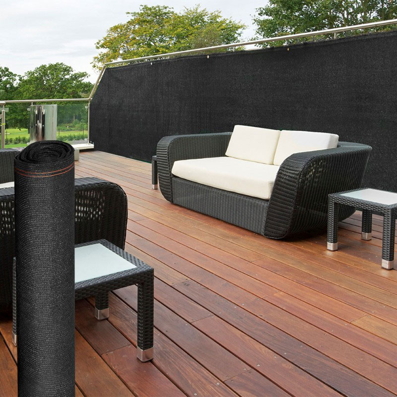 Winddoek 180 cm zwart, 5% doorkijk balkon