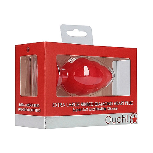 Extra Large Ribbed Diamond Heart Plug - Red